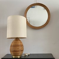 1970s Mirror and Table Lamp in Bamboo and Brass