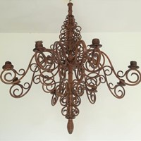 Bamboo and Wicker Ceiling Fixture - Candel Holder