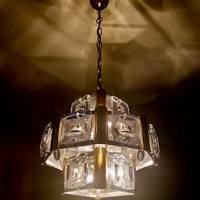 1970s Ceiling Light Metal, Brass and Glass Lenses