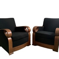 Pair of Italian Art Deco Armchairs