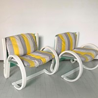 1970s Pair of Armchairs in Curved Wood