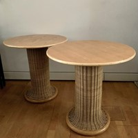 Late 60s Pair of Tables /Side Tables in Rattan