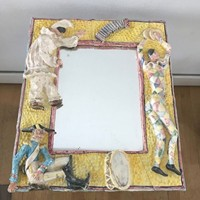 1960s Italian Mirror with Ceramic Frame