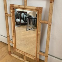 1970s Bamboo Mirror in the style of Bonacina