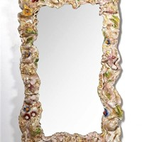 1950s Italian Mirror with Ceramic Frame