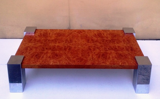 1970's Coffee Table in Chrome and Briar Root-moioli-gallery-tavolino radica e cromo fabrizio 124 by 30 h by 64 d._main_635986624346515525.jpg