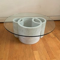 1970s Sculptural  Marble Round Coffee Table