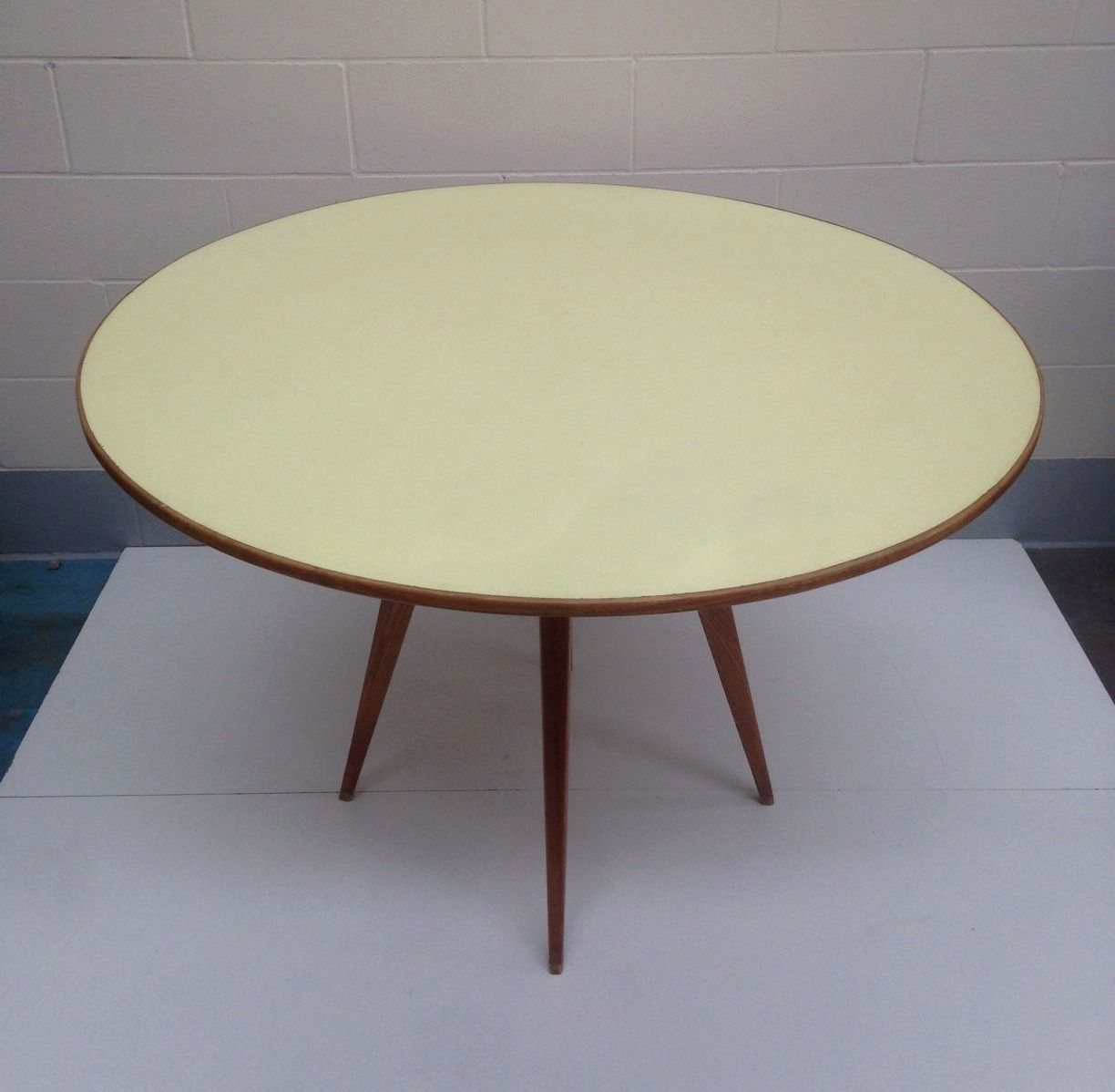 1950 S Gio Ponti Table With Yellow Formica Top Decorative Collective