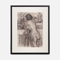 20th Century Charcoal Sketch of a Nude Woman