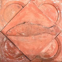 Terracotta panel of a salmon