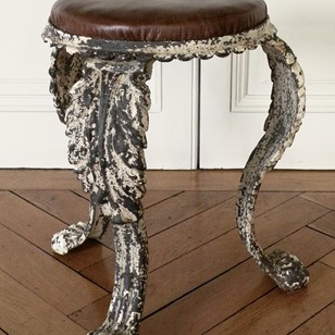 Early C19th leather and cast  iron stool