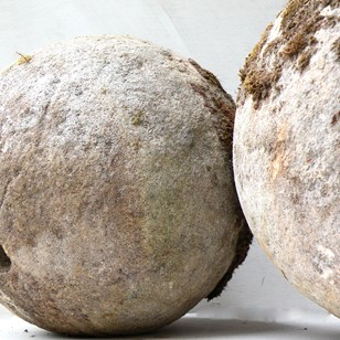 Pair of 18C carved bath stone balls