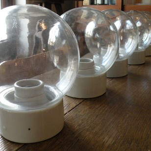 set  of 5  glass globes