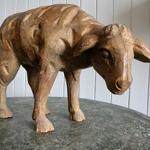 carved pine lamb
