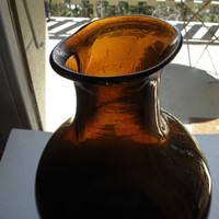 Wonky French Amber glass jar