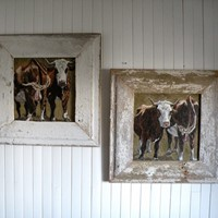 Pair original oils in reclaimed frames
