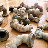 collection of copper  doll moulds