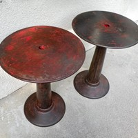 rare pair round Tolix tables by Xavier Pouchard