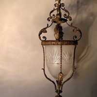 Wrought iron and cut glass pendant light