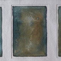 small original framed  watercolour tryptic