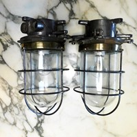 pair of vintage wall or ceiling industrial lights