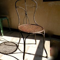 'Faux -bois' rustic wrought iron French chair