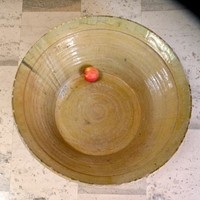 very large Spanish glazed terracotta bowl