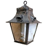 Unusual  Wrought Iron corner lantern