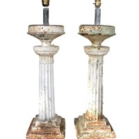 pair iron column table lamps