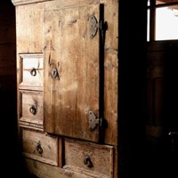 Rustic antique pine cupboard