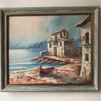 Old houses by the sea 1950's Oil painting