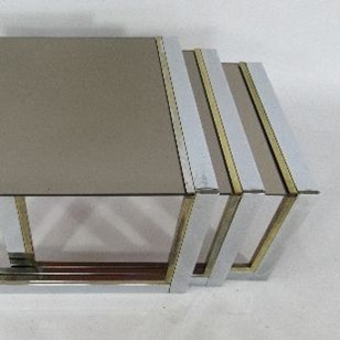 Trio of Chrome and Brass Side Tables
