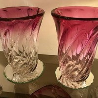 Two Pink Fading Ribbed VSL Vases-One Sold