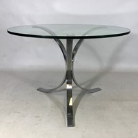 Glass and stainless steel Dining Table
