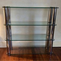 Etagere with Large Diameter Chrome Tubes.