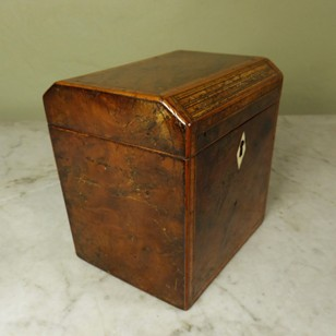 18th c burr elm tea caddy
