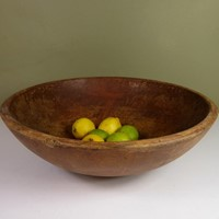 Large 19th C Wooden Dairy Bowl
