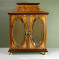 19th c inlaid table top cabinet