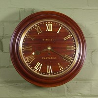 19th c mahogany wall clock with fusee movement