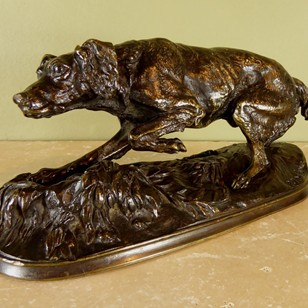 19th c bronze dog