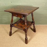 Unusual 19th c inlaid table