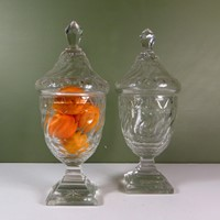 Pair of 19th c glass vases & covers