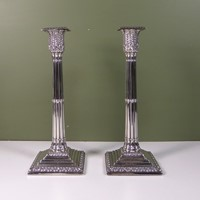 Pair of 19th c silver candlesticks