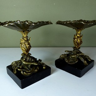 Pair or regency bronze tazza
