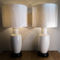 Circa 1950 A Pair of French Ceramic Table Lamps