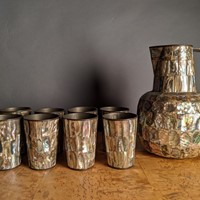 Circa 1930 Mexican Silver Inlaid Abalone Water Set