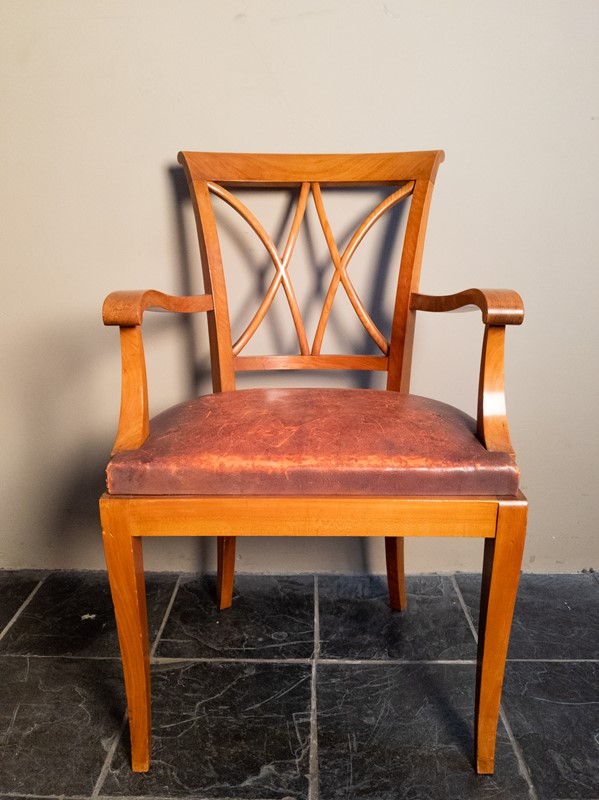 Ten Fruitwood Dining Chairs in Leather C.1930-nick-jones-img-20200524-104527-main-637299758619183393.jpg