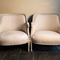 A Pair of Late 19th C. French Bergere Armchairs