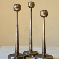 C1960s A Set of 3 Graduated Silver Candlesticks
