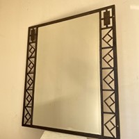 C1930 A Stylish French Iron Geometric Mirror